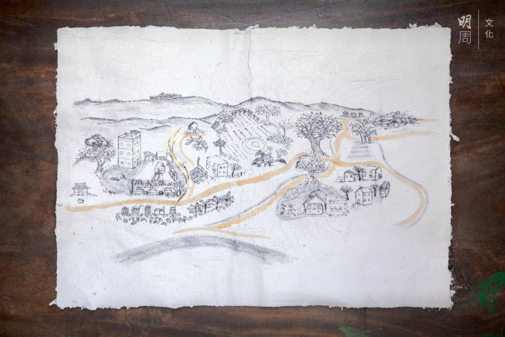 土丘手繪地圖。用自製紙張、墨水、顏料。