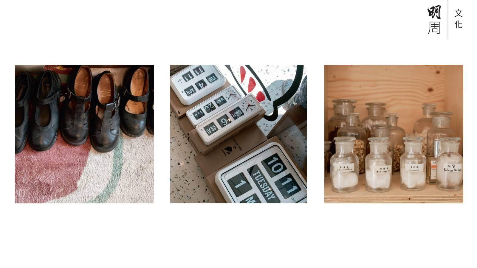 (上)貨品反映Eden品味,如「復古」是最明顯的元素之一。(中)香港製造的跳板鐘,設計有種舊香港的優雅美學。(下)