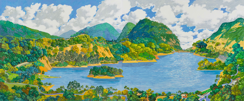 黃擅長風景畫,走遍香港多個山頭,圖為2018年所畫的城門水塘。