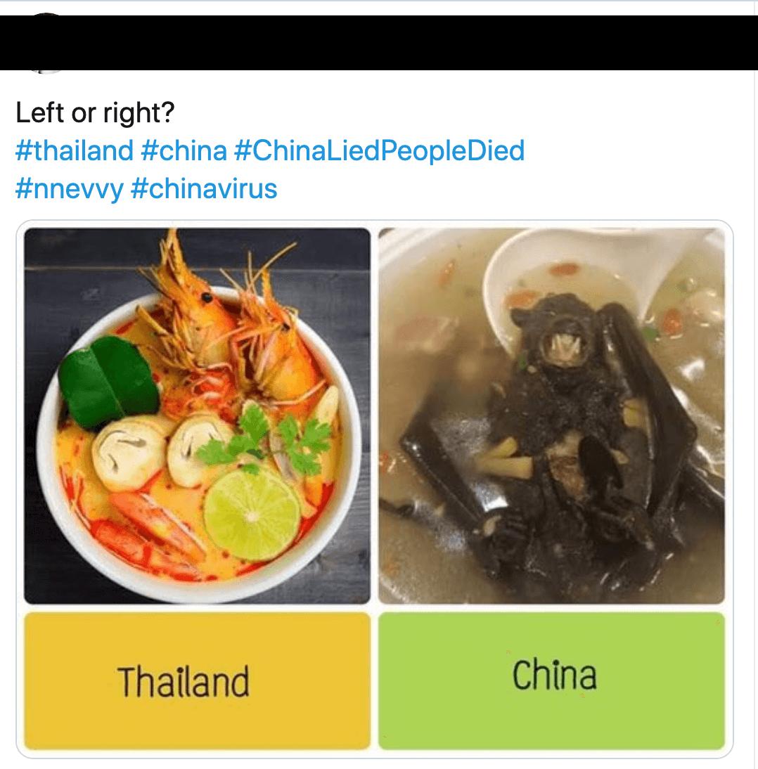泰國人為飲食文化自豪,並反嘲中國人愛吃野味。