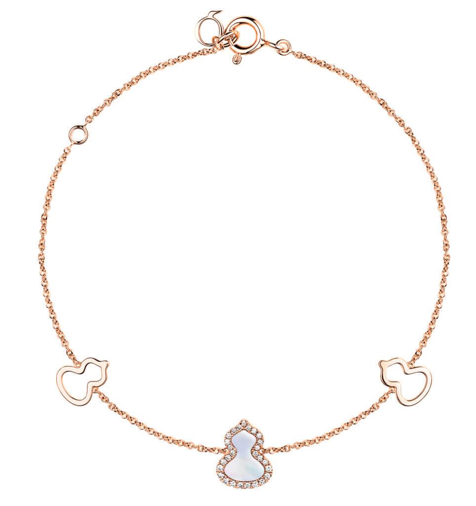 Petite Wulu 18K 玫瑰金鑽石及珍珠母貝手鏈 $11,800