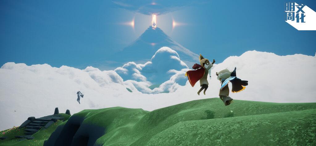 左邊穿紅色斗篷的是麥朗,右邊穿藍色斗篷的是Rice。二人應記者要求,在遊戲內為訪問來一個high five紀念。