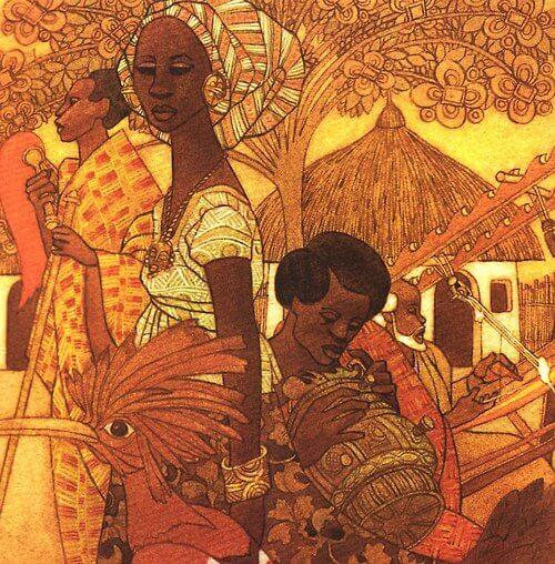 二人打破了黑人鮮有出現在兒童圖書的慣例,為不少以非洲為題材的童書負責插畫。圖為Margaret Musgrove的《Ashanti to Zulu: African Traditions》(1976)