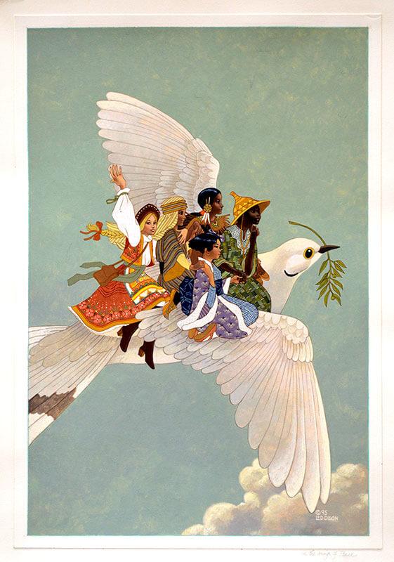 二人為Sheila Hamanaka的書籍《On the Wings of Peace》設計封面插圖,全書集結了六十篇與二戰相關的文章和故事。封面圖表現出世界大同的願望。