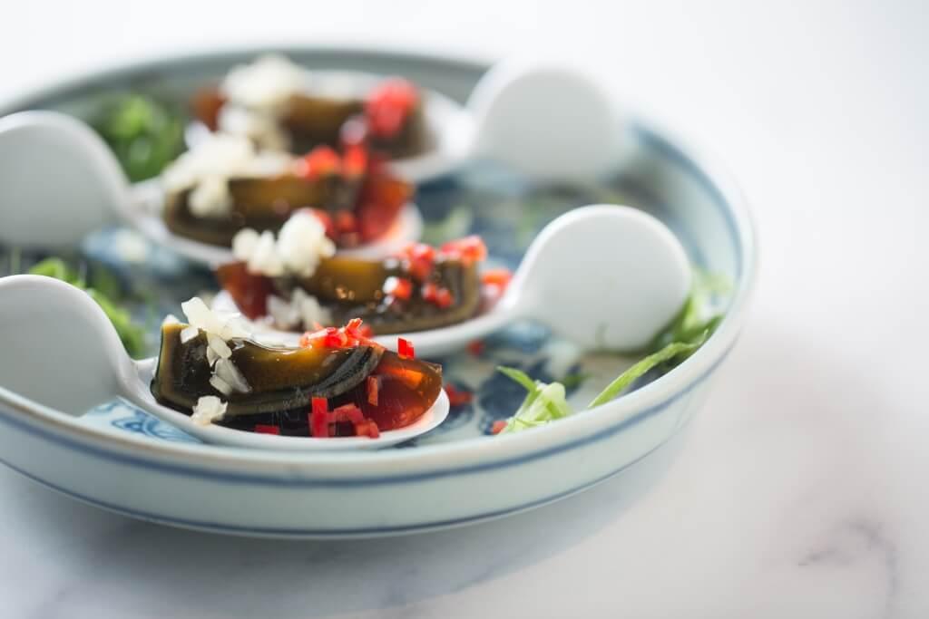 子薑溏心皮蛋 // 把老掉牙的粵菜變精緻,一匙一口的子薑皮蛋,增加食趣。 ($48)