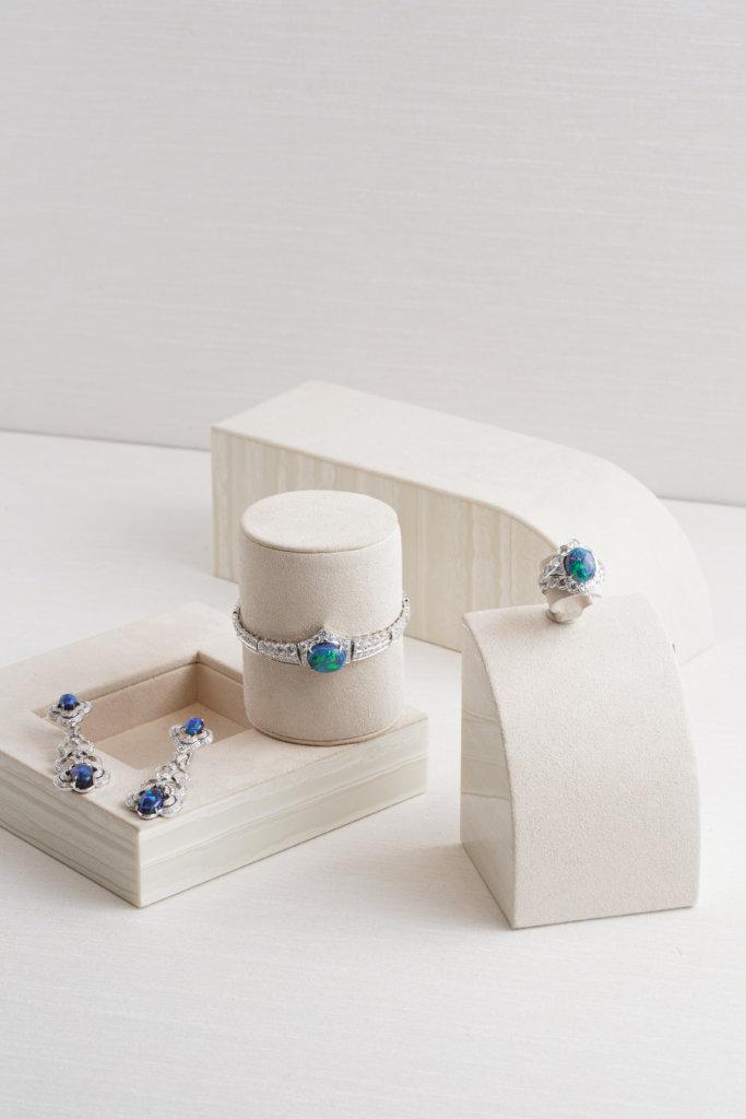 Left to right: Opal Earrings $1,200,000 / Opal Bracelet $1,140,000 / Opal Ring $920,000