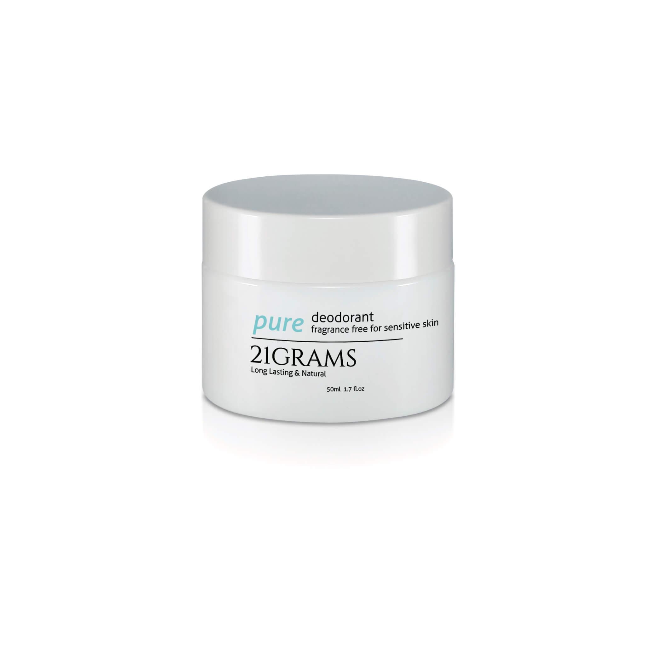 21GRAMS PURE香汗膏 HK$224/50g 不含鋁鹽、酒精、香料、Paraben及防腐劑,以純天然配方去抗菌除味。並加入有機葛粉,以物理方式去吸取皮膚上的多餘汗水,達到長效抗臭。Cream狀質地可於運動後清潔完皮膚再補擦。
