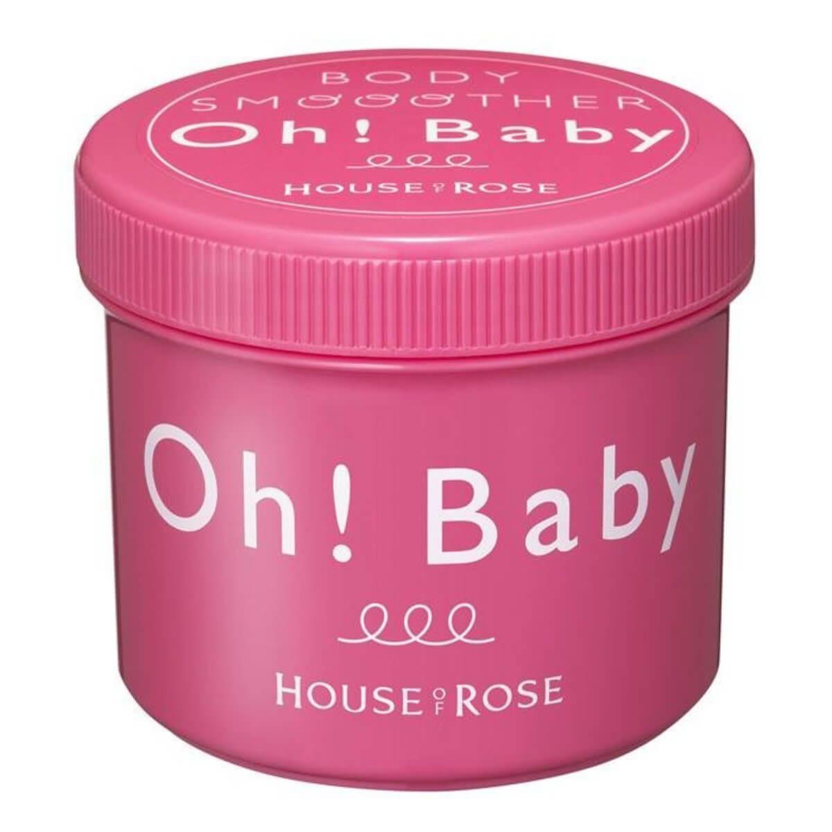 HOUSE OF ROSE Oh! Baby 身體去角質磨砂膏 HK$198/570g 主要成分為溫泉水的結晶,添加了蠶絲微粒,因此砂粒非常細膩,不會傷害嬌嫩肌膚,有助去除肌膚死皮、老化角質。產品加入美白成分,磨砂的同時讓肌膚淨白清爽,提升亮度。