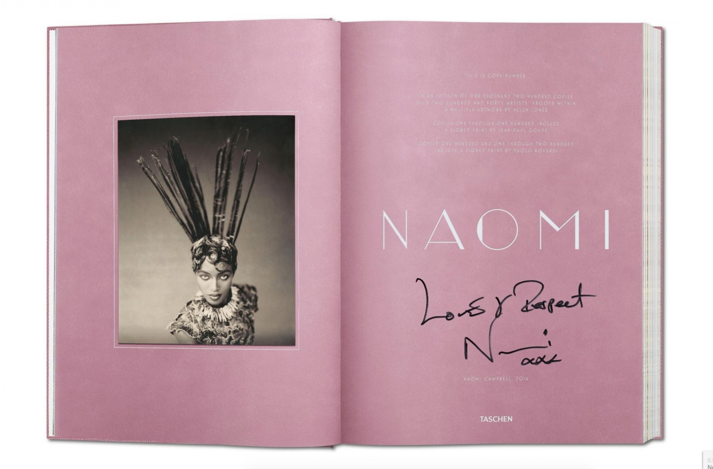 Taschen推出十本限量版《NAOMI CAMPBELL》簽名本,售價盛惠港幣$25,000。
