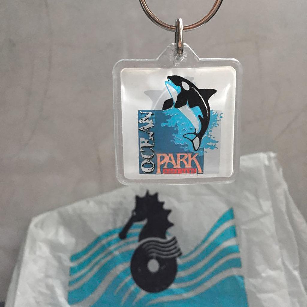 網友轉售絕版殺人鯨海威小姐鎖匙扣,後面還依稀可見當年的海馬招牌Tee。