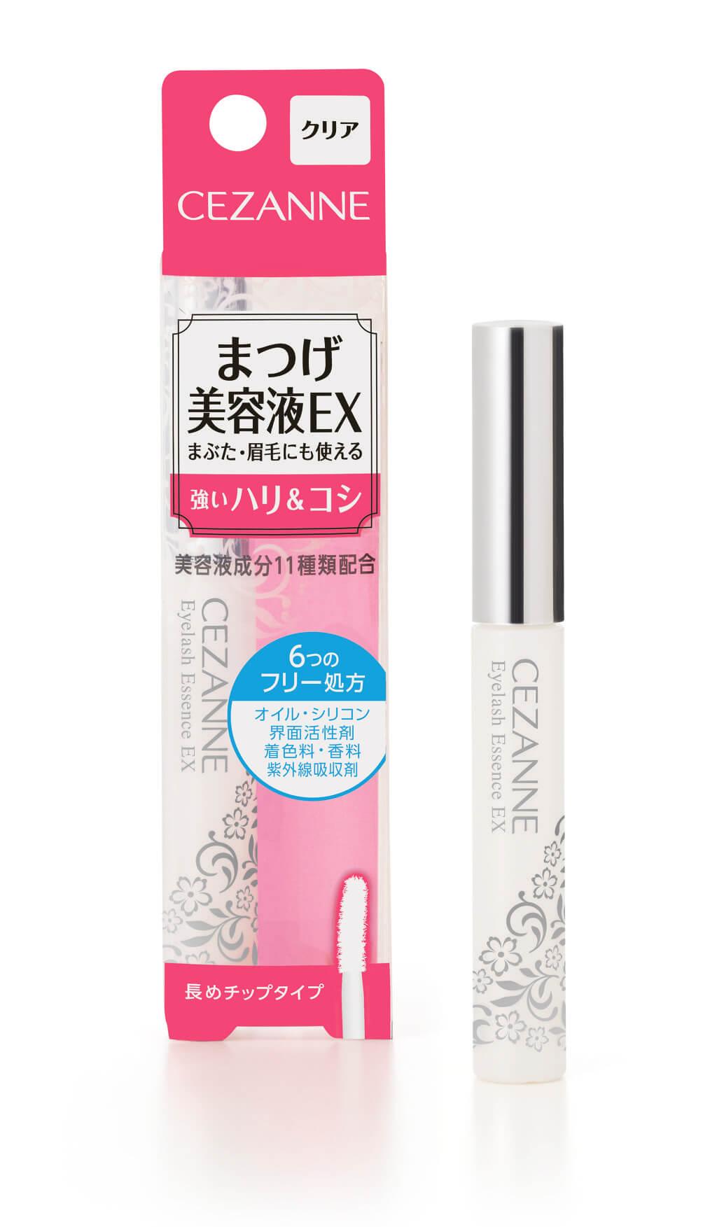 CEZANNE Eyelash Essence EX HK$35/5.4g 精華液添加了十一種精華成分,賦予睫毛及眼瞼彈性韌性,令睫毛更長更粗。成分温和,不易刺激皮膚較薄、較敏感的眼周,同時具備六種無添加配方:無油、無矽、無界面活性劑、無色素、無香料、無紫外線吸收劑,同時適用於眉毛。