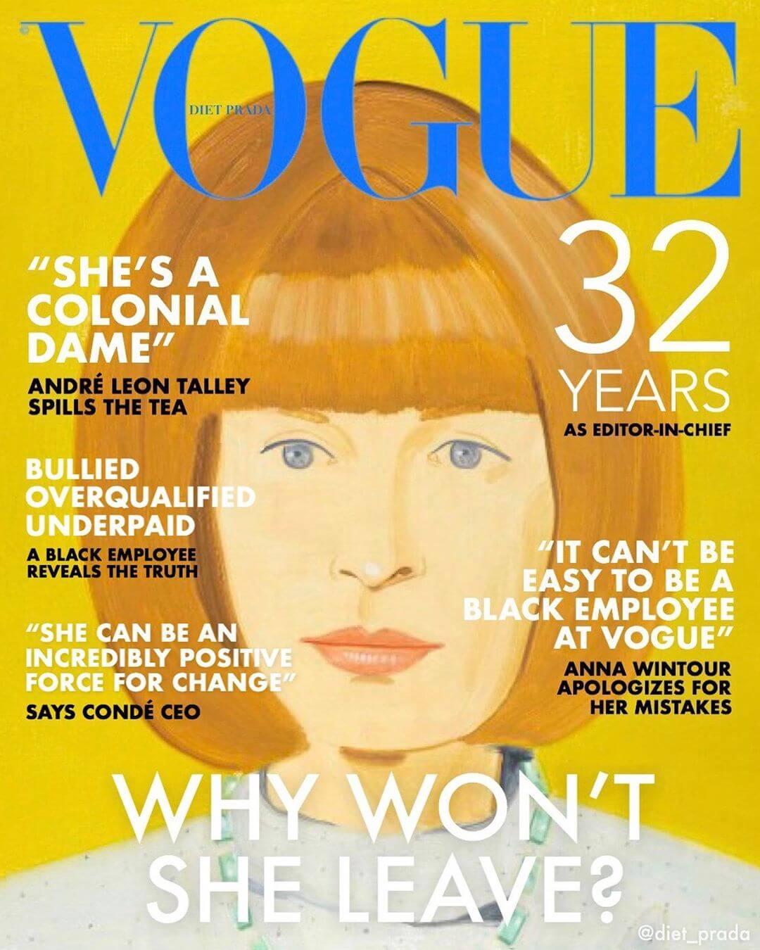 時裝警察@diet_prada「二創」《Vogue》雜誌封面,諷刺Anna Wintour是「殖民女公爵」。