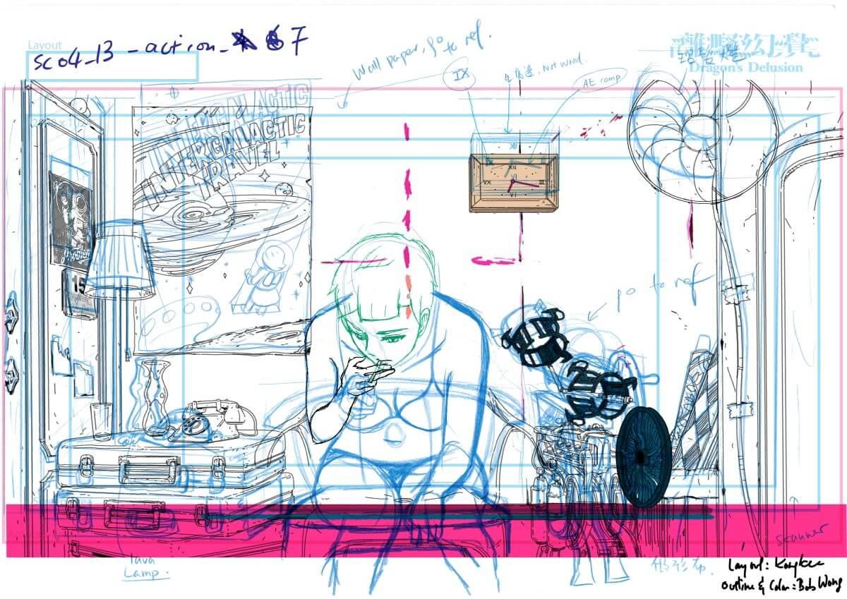 動畫前期先構思劇本、人物場景、製作story board,再由畫師分工畫原畫、動畫草圖、勾線、上色、合成,最後做剪接、特效,工序複雜。