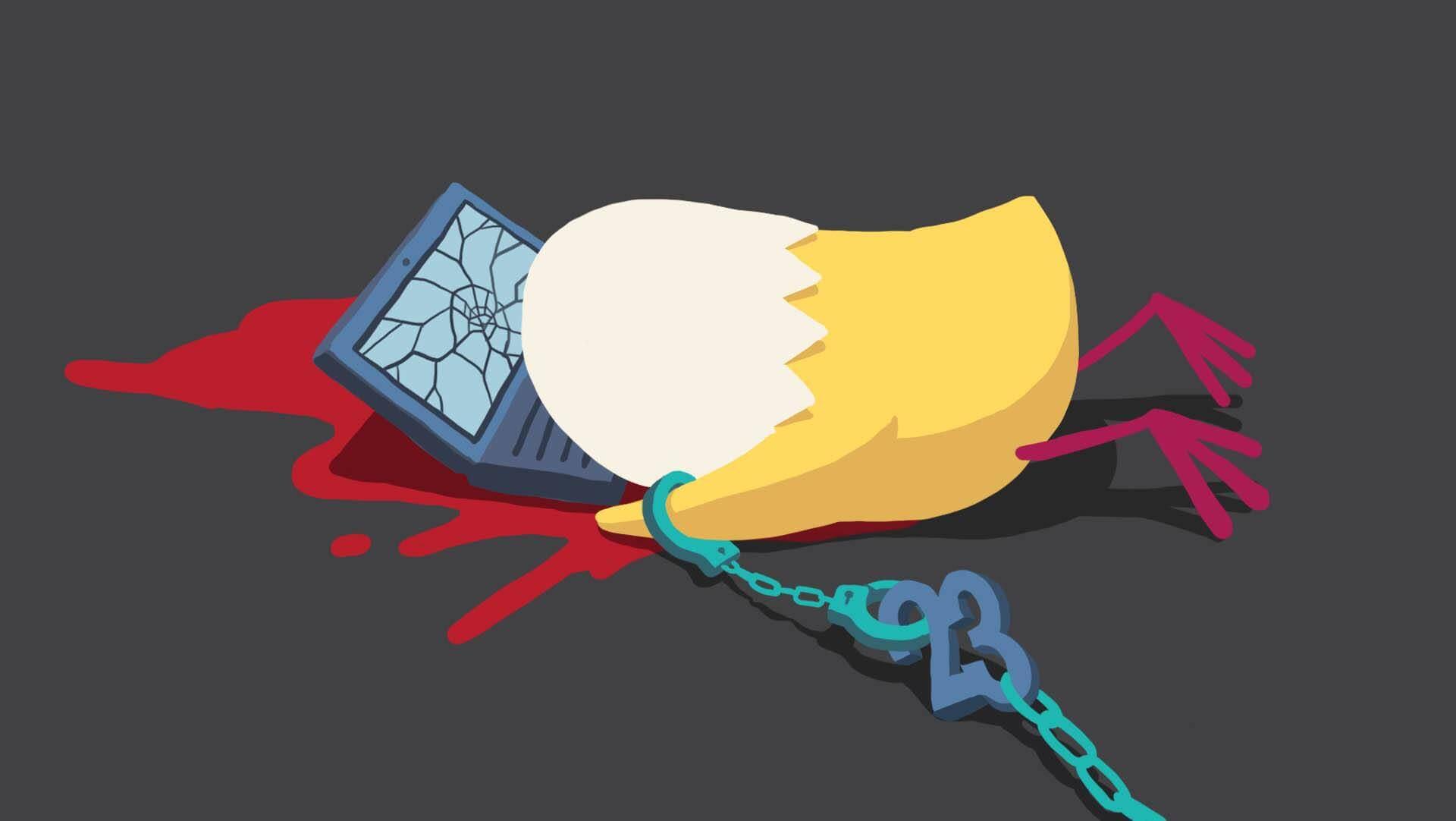 有插畫家發起繪圖聲援行動,以「畫一個已死的自己……表達(網絡)23條通過後,很多創作人也會死」為題。圖為阿塗當時畫作。