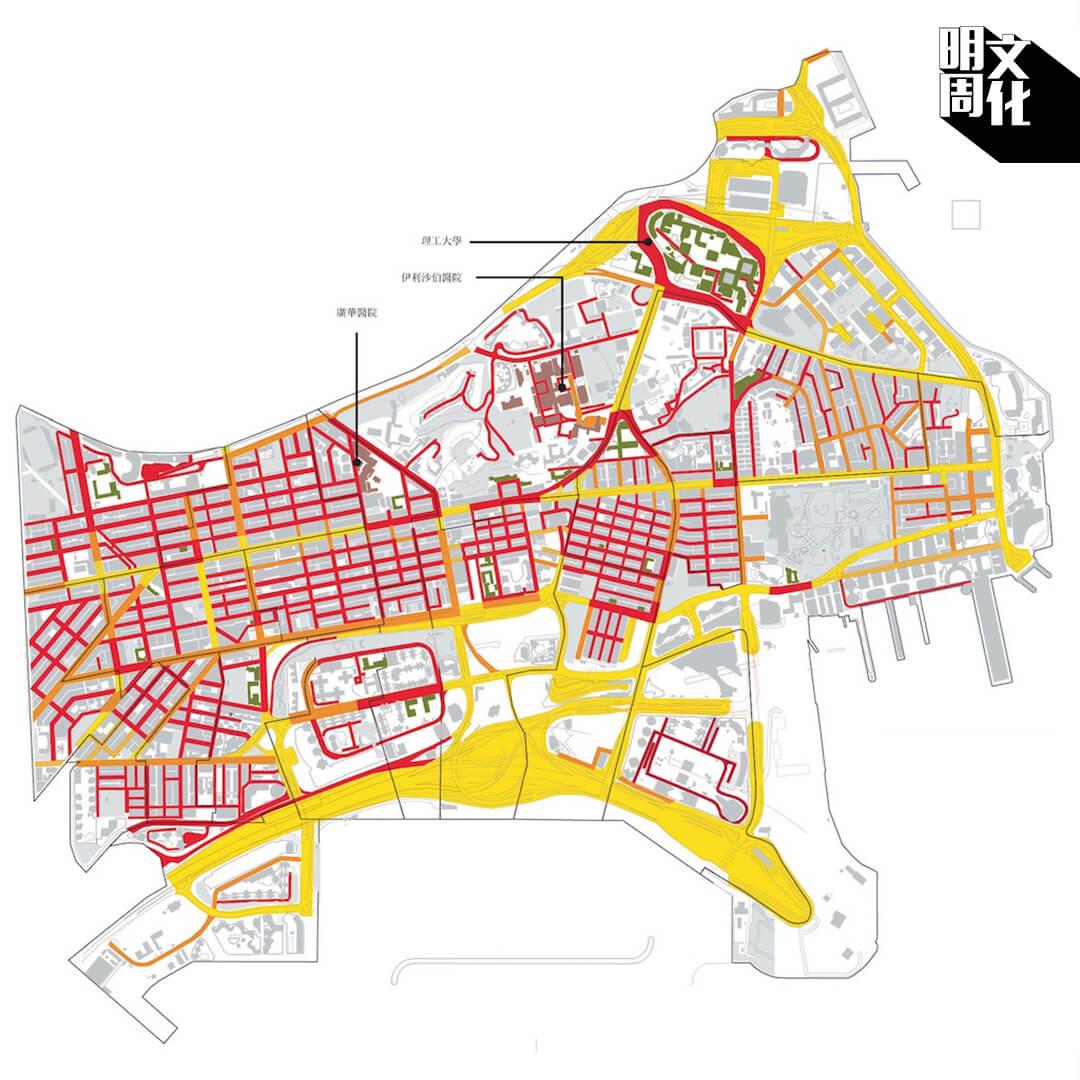 油尖旺區多處都有住宅、醫院(淺紅色塊標記)和學校(綠色塊標記)。警方在十一月十八日單日發放超過三千枚催淚彈,足以令整個地區變成危險地帶。地圖上深紅色代表極危險;橙色代表會令長者、兒童和患有呼吸道疾病的人士有危險;黃色代表風險較低。