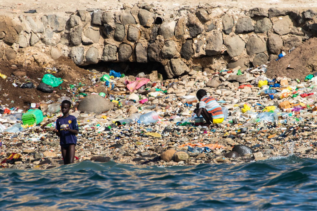 Aa plastic pollution on a beach in Dakar, Senegal on March 4, 2020. (Photo by Jerome Gilles/NurPhoto)