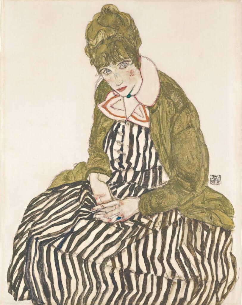 《Edith Schiele in a Striped Dress, Sitting》1915