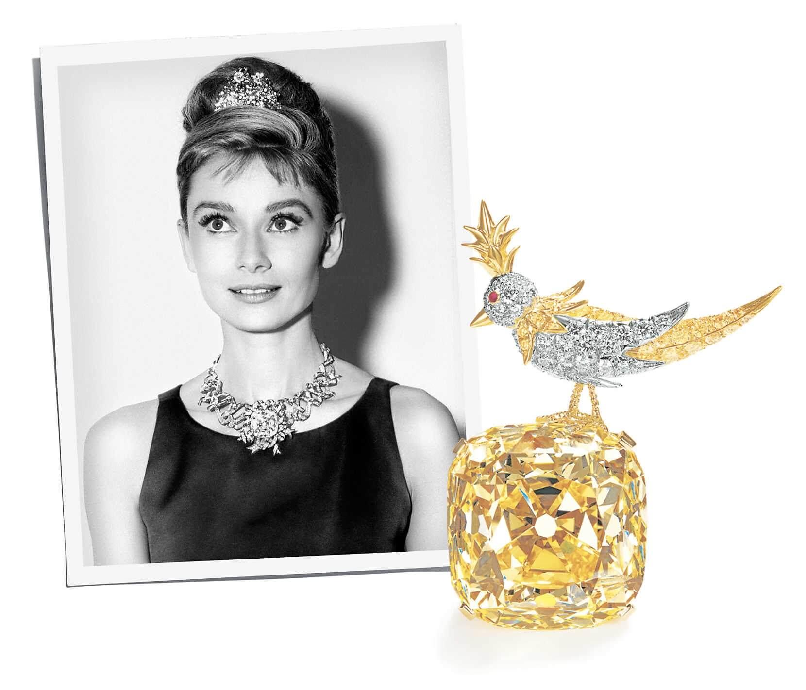 """柯德莉夏萍在電影《珠光寶氣》的造型,以及著名珠寶設計師Jean Michel Schlumberger為她設計了""""Ribbon Rosette""""項鏈。"""
