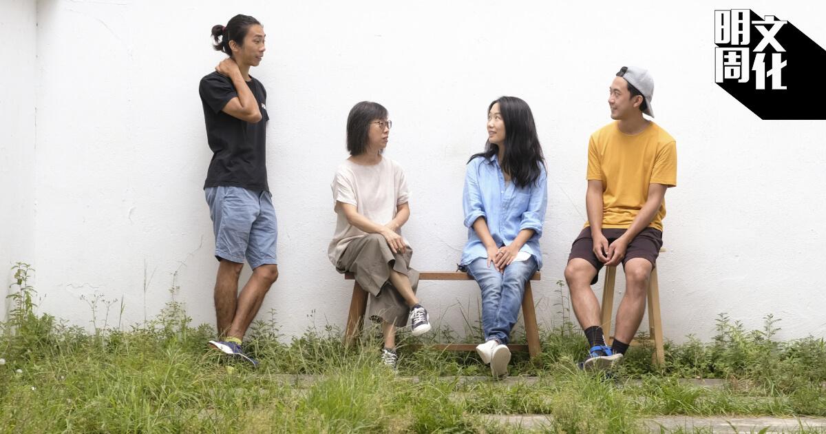 (左起)四位藝術家姚俊樺、張煒詩、區灝藍、李彥錚發起「尋田.探土」計劃,走進荔枝窩駐村,以陶藝為媒介創作。