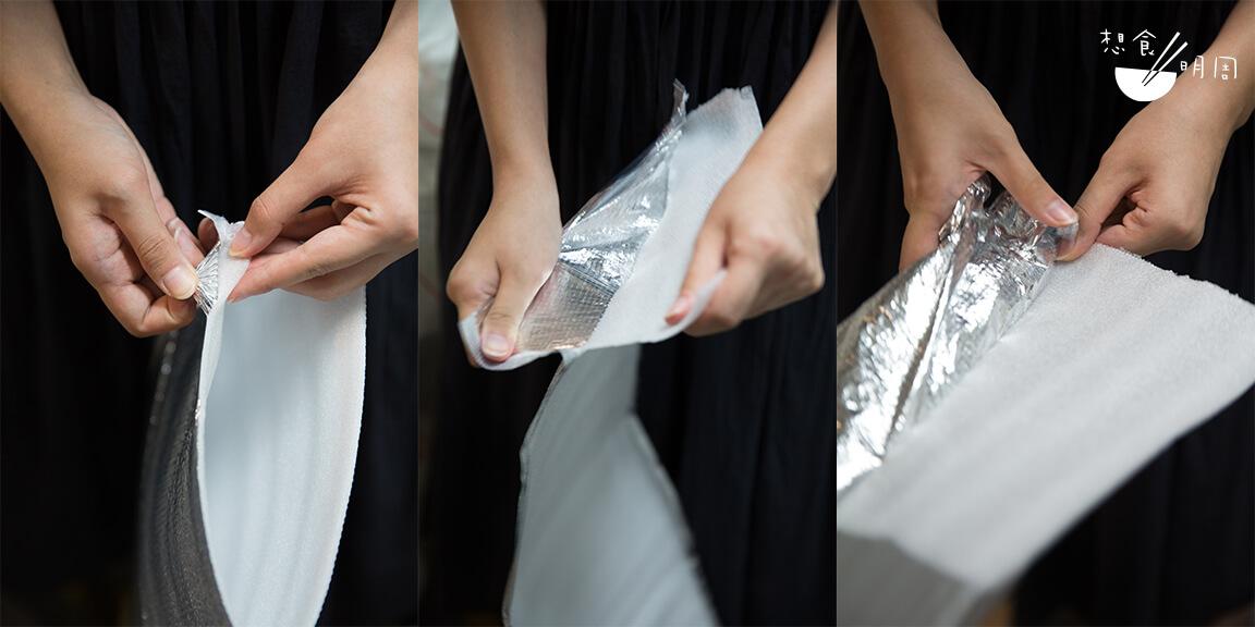 近來常見的鋁箔保溫袋,白色內層正是發泡膠。只要撕除表層,即可回收。