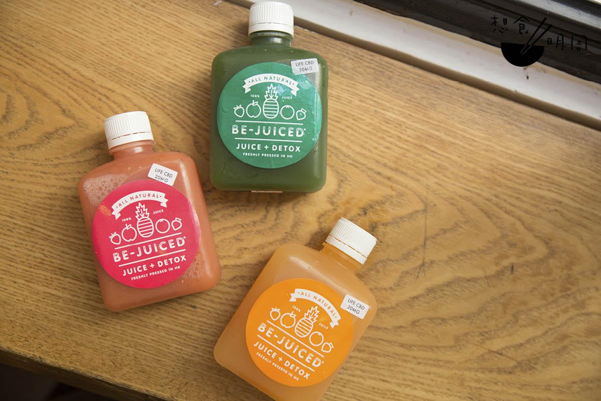 冷壓果汁//與Be-juiced合作的CBD果汁。共有三種口味,包括綠色的青蘋果五青汁、粉紅色的香橙士多啤梨,以及橙色的西柚味。每支含20mg的CBD。($80/支)