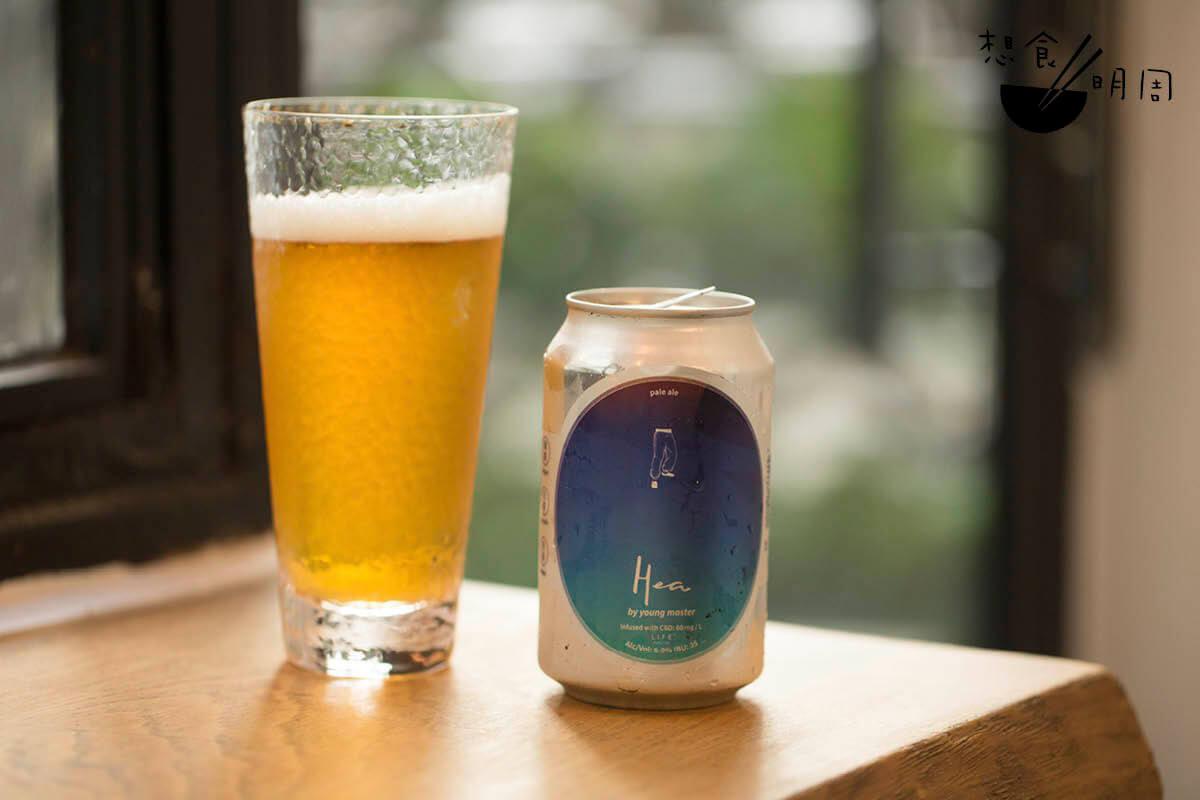 HEA//與本地精釀啤酒品牌「少爺麥啤」提出的Pale Ale,同含20mg CBD。供外賣用。($70)