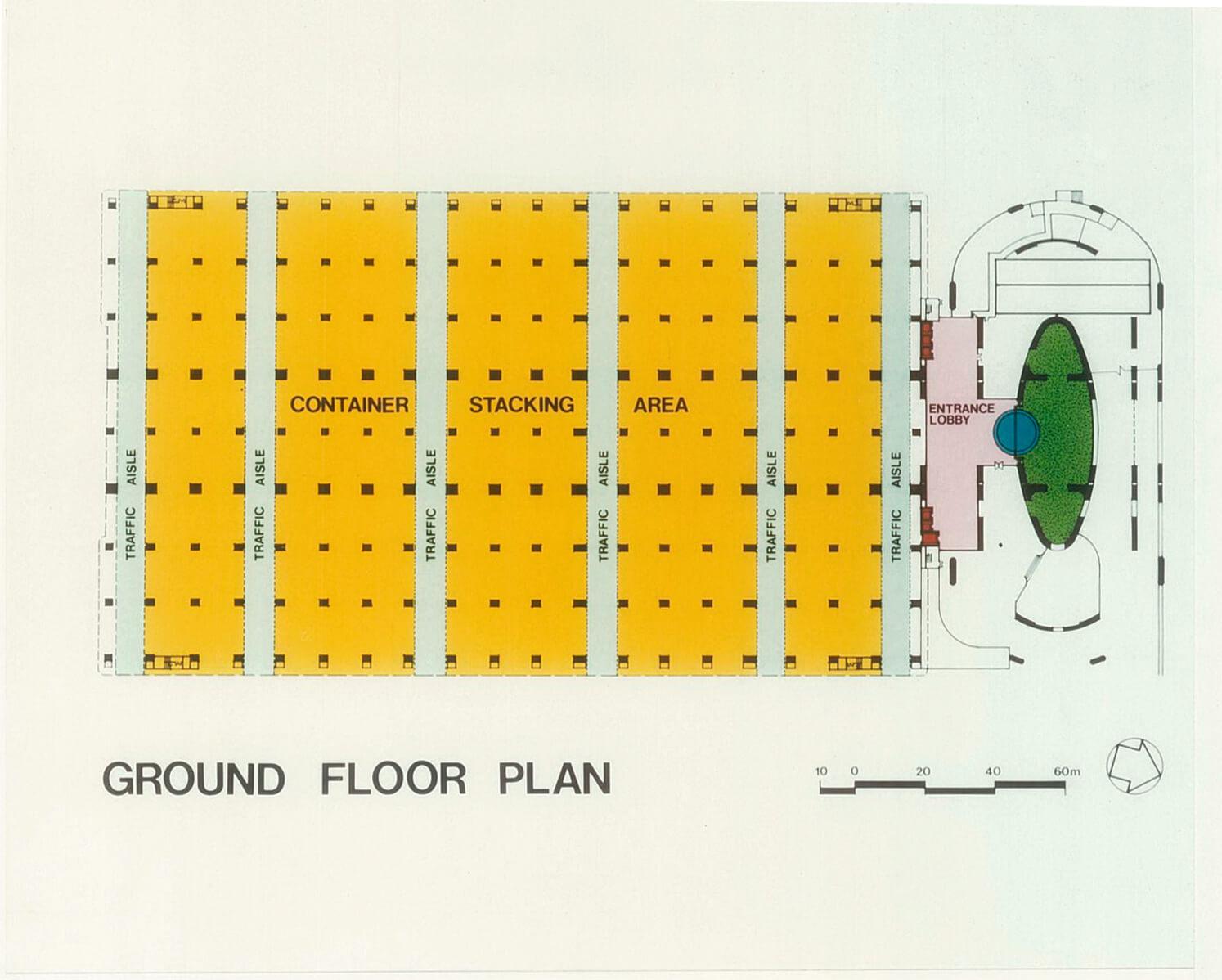 「每一層都是地面」是亞洲貨櫃物 流中心的設計重點,以旁邊的大型 微斜坡道來貫穿每樓層。(圖片由 劉榮廣伍振民建築師事務所提供)