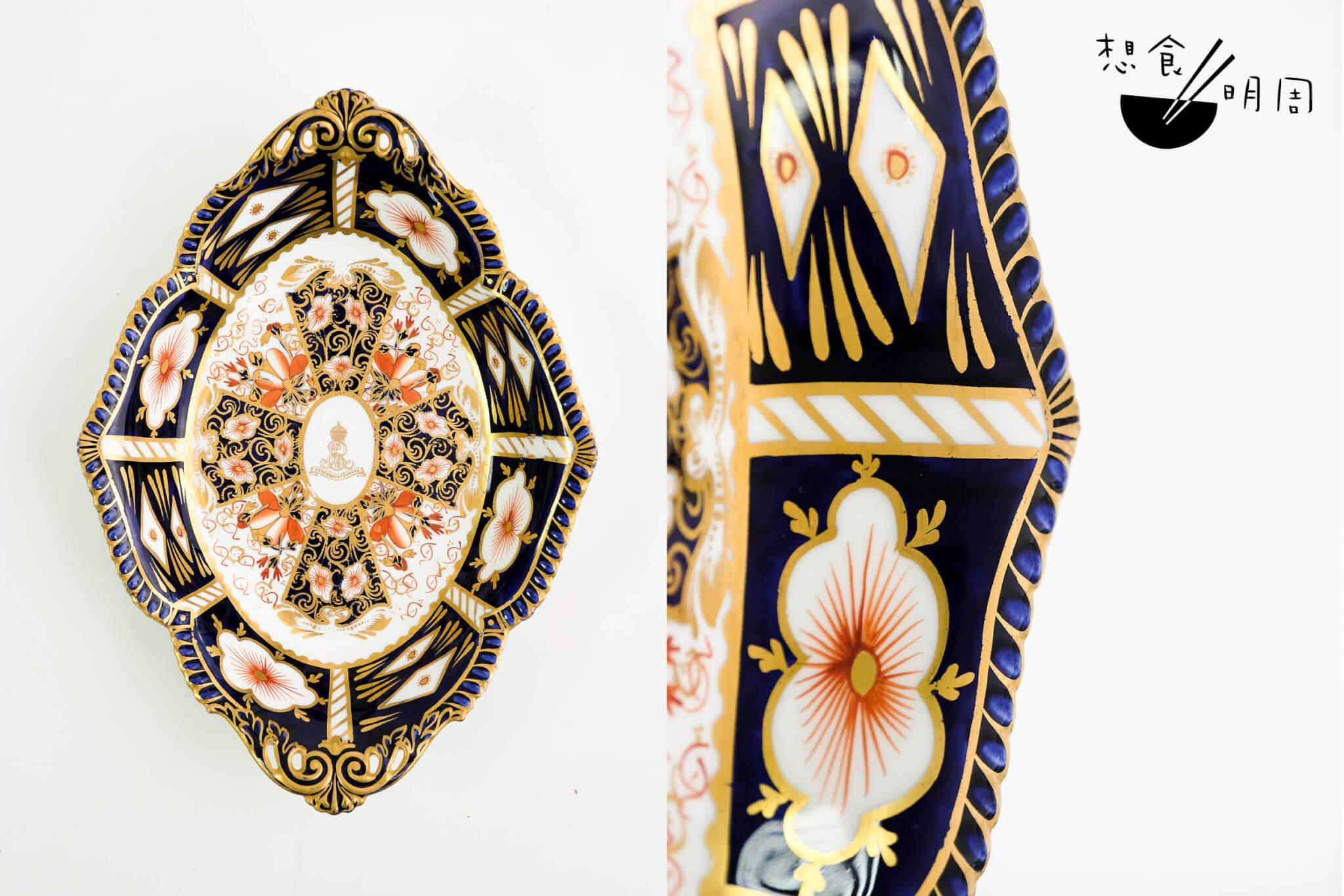戰前總督府器具 // 碟中徽號ER VII代表此碟為英皇愛德華七世(1841-1910)的產物。在十九世紀末、二十世紀初,歐洲人偏愛日本瓷器,於是在本土模仿伊萬里紋飾製作,同時套入富西方味道的金漆飾邊及線條,是頗為特別的變奏。