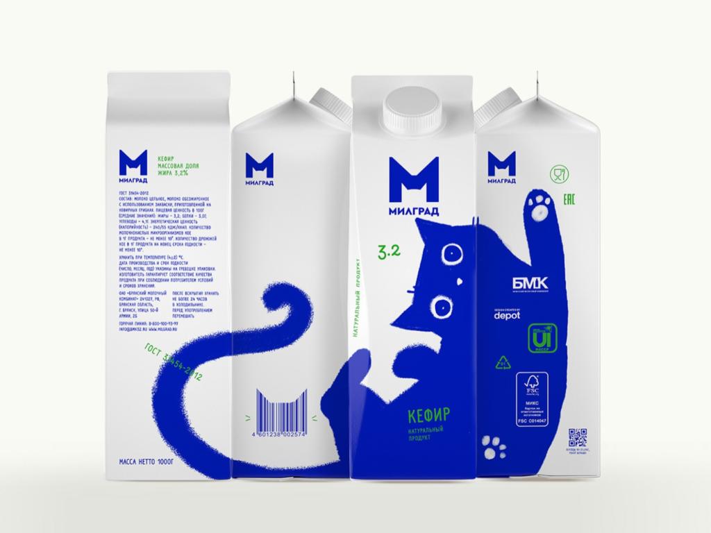 俄羅斯牛奶商Milgrad推出全新包裝,藍色小貓成為主角。