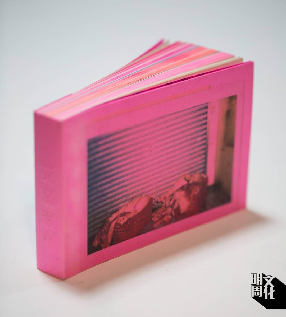 黃嘉瀛的同名藝術書,用了不同層次的粉紅色紙,印上她的手寫日記和寶麗萊照片。
