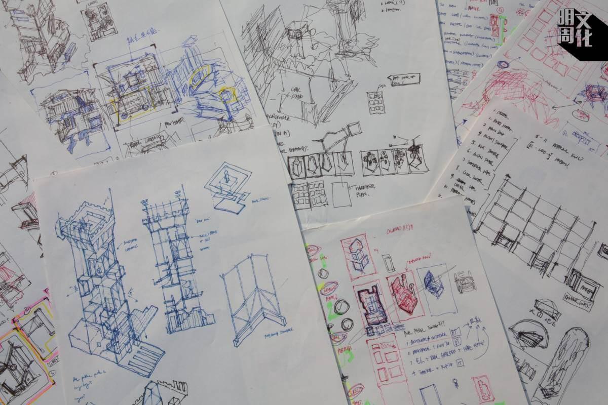 作品完成草圖後,但在電腦上繪製出成品。