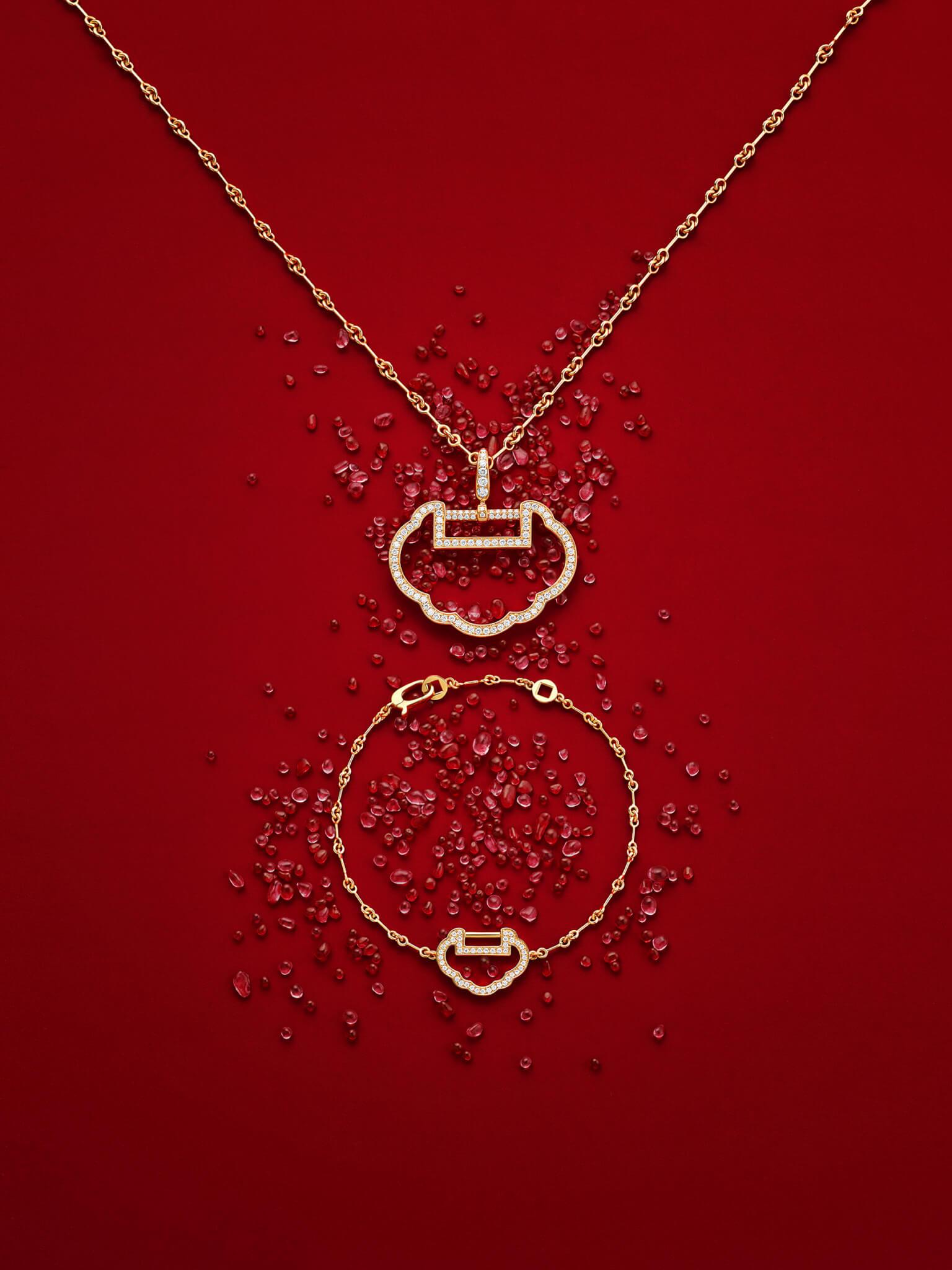 Yu Yi 18K玫瑰金鑽石吊墜(大) $65,800 / Yu Yi 18K 玫瑰金鑽石手鏈 $24,800