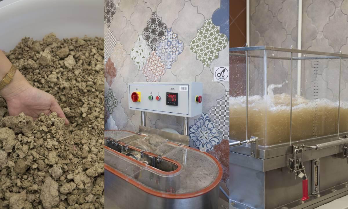 最近二人跟Mil Mill合作利用後者的回收紙漿製紙,首先用機器將半乾的原材料攪拌打漿,再在抄紙機加水翻動,之後將水排出,剩下一層薄薄的紙,最後將之取出,天然風乾或用機器壓乾。