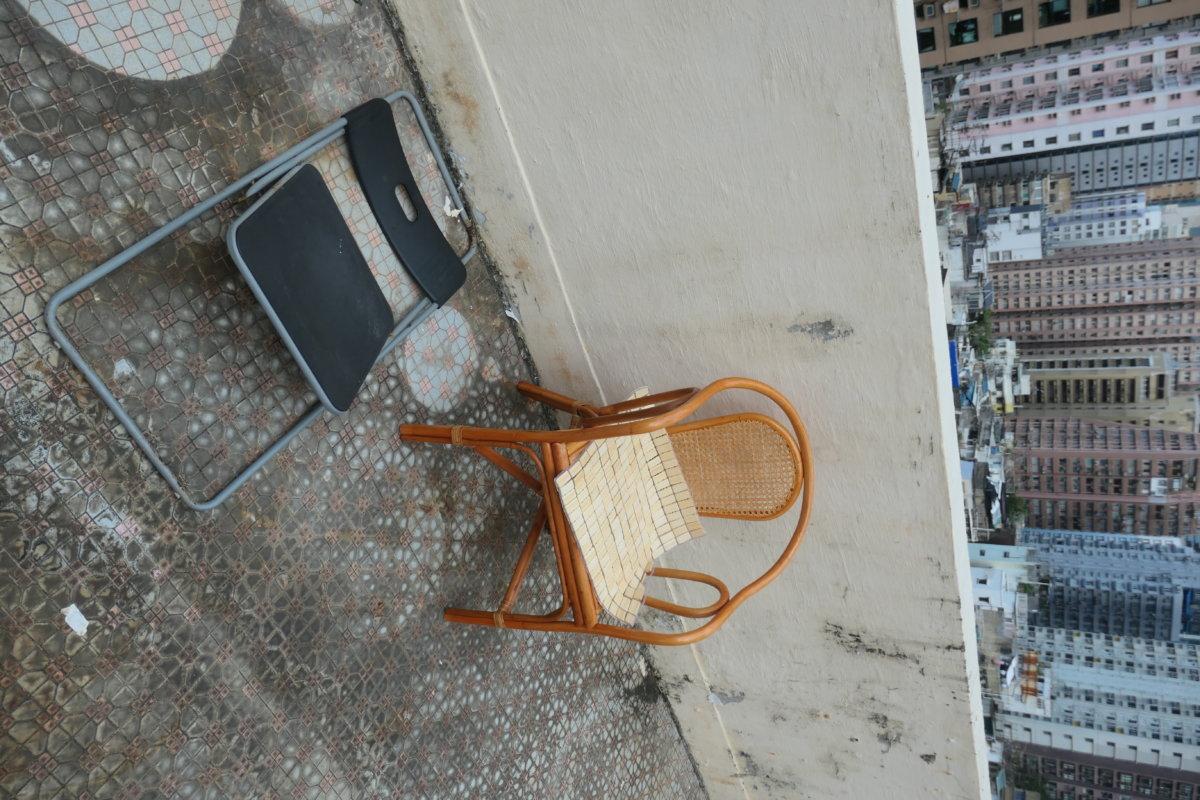 The collapsed Ikea chair and replacement bamboo chair, Sheung Wan, Hong Kong, 12 September 2020 (photo: John Batten)