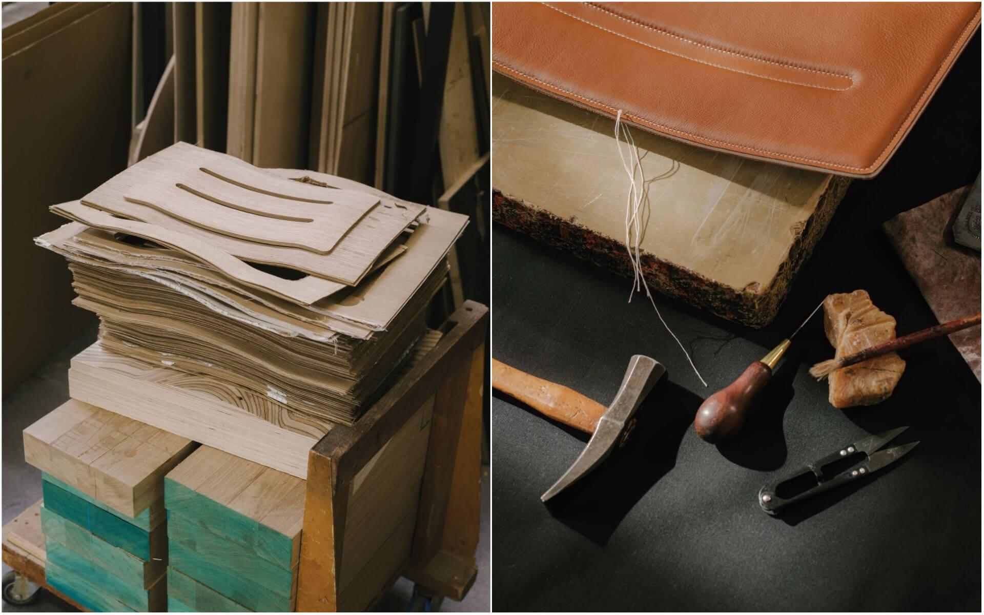 由修道院椅到居家crafted chair,結合木工和品牌最著名的皮革工藝。