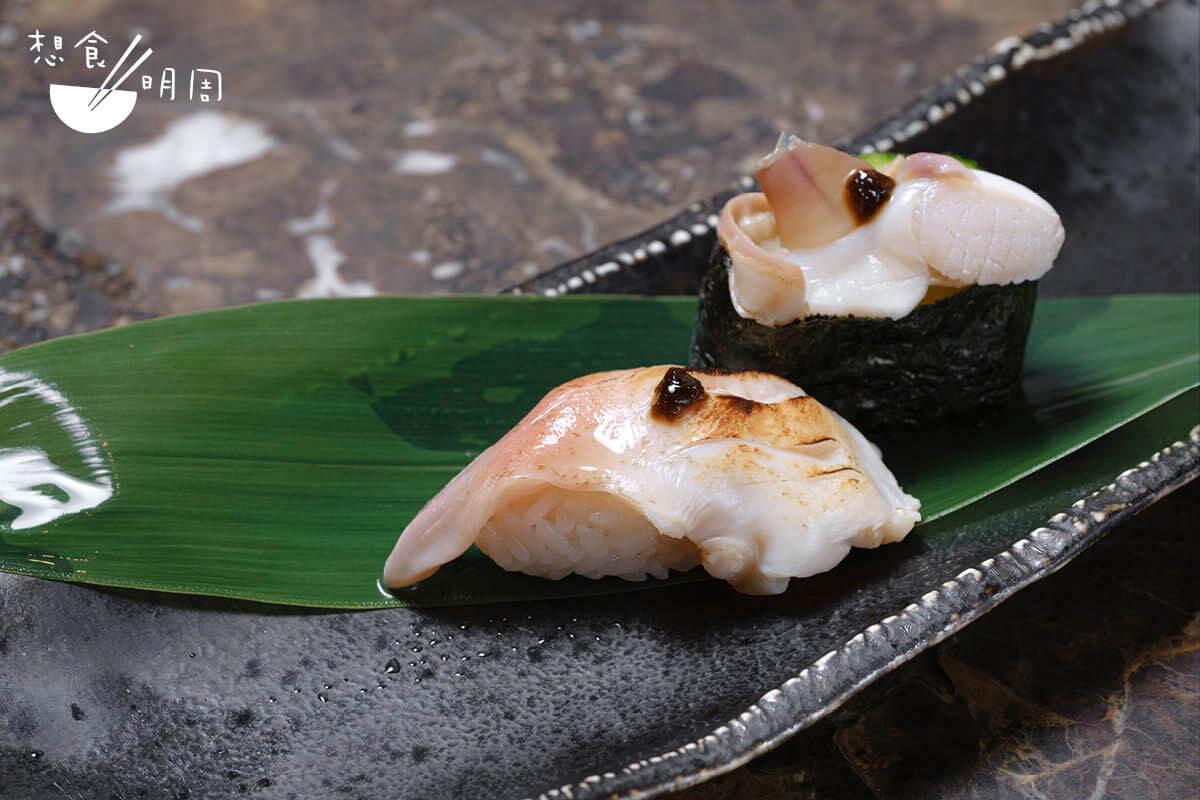 炙燒北寄貝配海苔醬 // 甘甜的北寄貝分成了貝肉及裙邊,炙燒後製成握壽司及軍艦,幻變成兩種風味。($68/份)