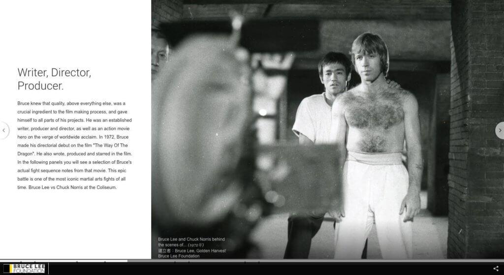 李小龍的電影遺產,絕不止作為演員的貢獻,他也是別樹一格的編劇、導演、監製,攝影師。圖片:Google Arts & Culture 截圖