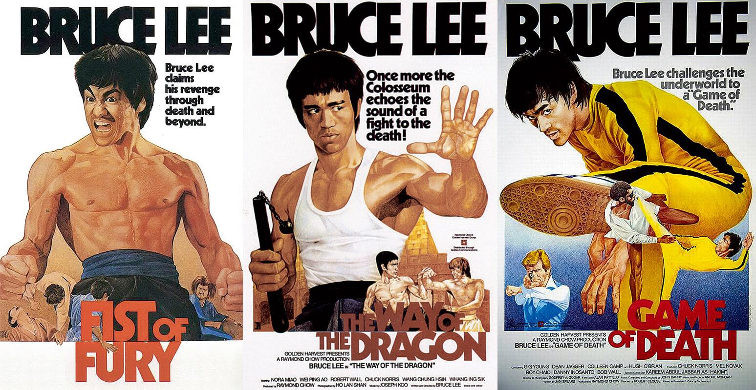 1982年嘉禾決定將李小龍四齣電影 《 唐 山 大 兄 》、《 猛 龍 過 江 》、《 死 亡遊戲》(左順序)及《精武門》 (右)重新包裝,推出歐洲市場, 遂邀請阮大勇操刀繪畫海報。四張 海報悉心挑選李小龍最經典的「甫 士」,在歐洲深入民心,今日海外 宣傳李小龍的電影封面,仍有港版海報的影子。