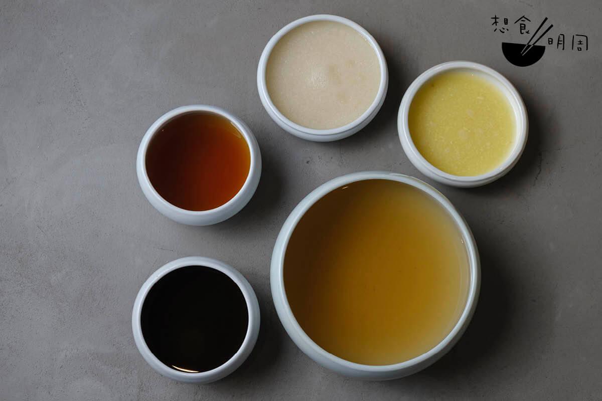 具辰光現時用青梅濃汁、甜醬油、蔬菜高湯、梨蓉及薑蓉醃製泡菜。由於店子是素食餐廳,因此醃泡菜時並沒有用上常見的蒜頭。