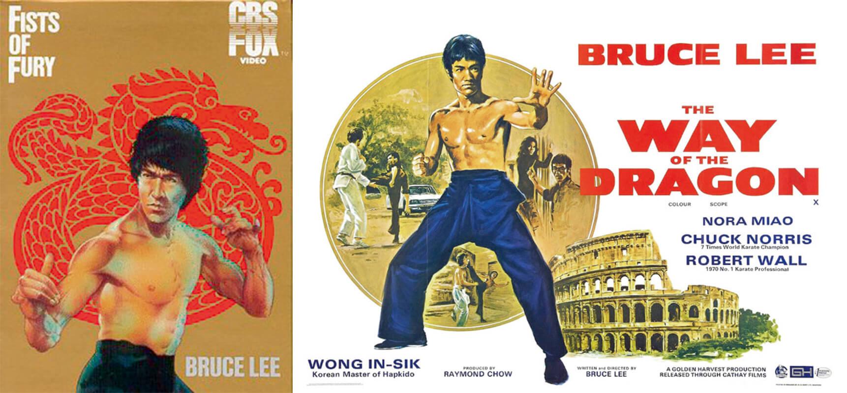 (左)歐洲發行重新繪畫的李小 龍,具西方特色,但略嫌失去李 小龍神韻。 (右)歐洲早期《猛龍過江》的 電 影 海 報沿用了港版海報的構圖, 羅馬的武打背景、合氣道高手黃 仁植與空手道高手羅禮士(Chuck Norris)成為賣埠海外的賣點。