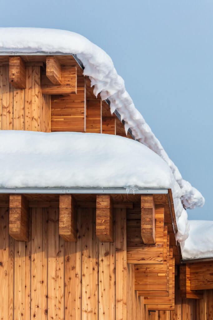 木色與雪色相映襯。