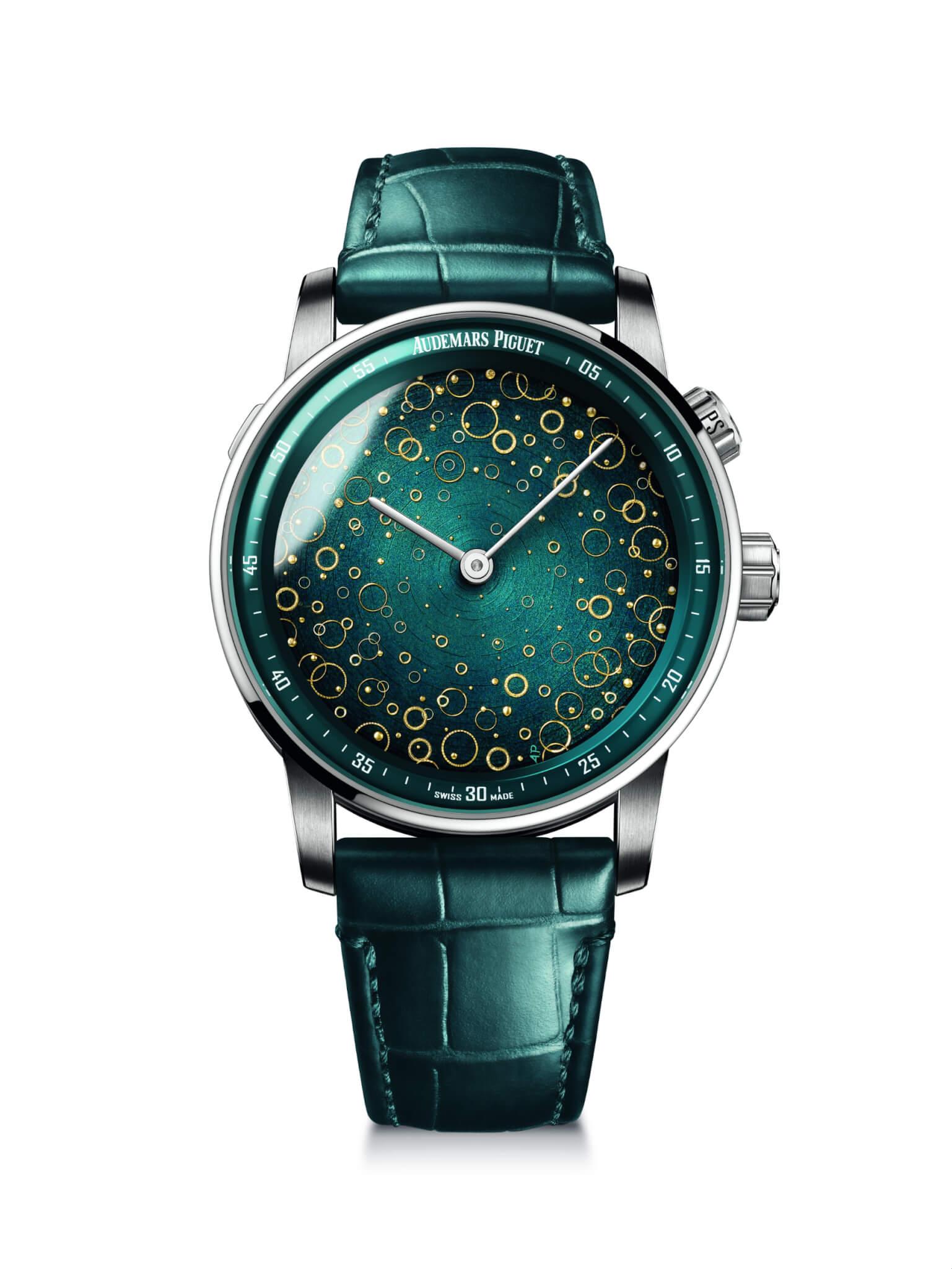 這款錶面是Porchet大師創作的三款琺瑯錶面之一,錶面特意不設時標,以完美保存藝術作品的美感。