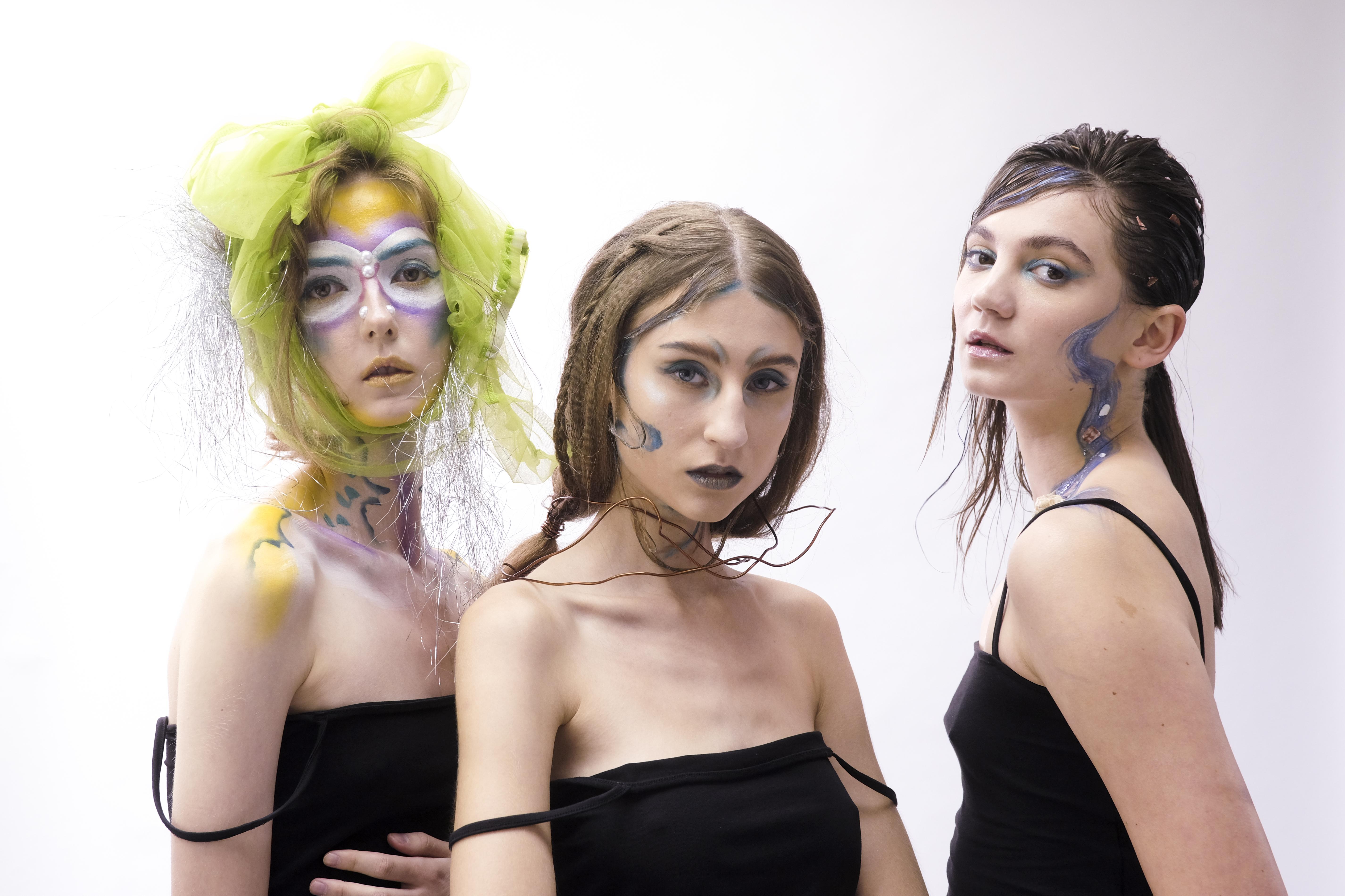 三組參賽者在限時內創作的妝髮造型