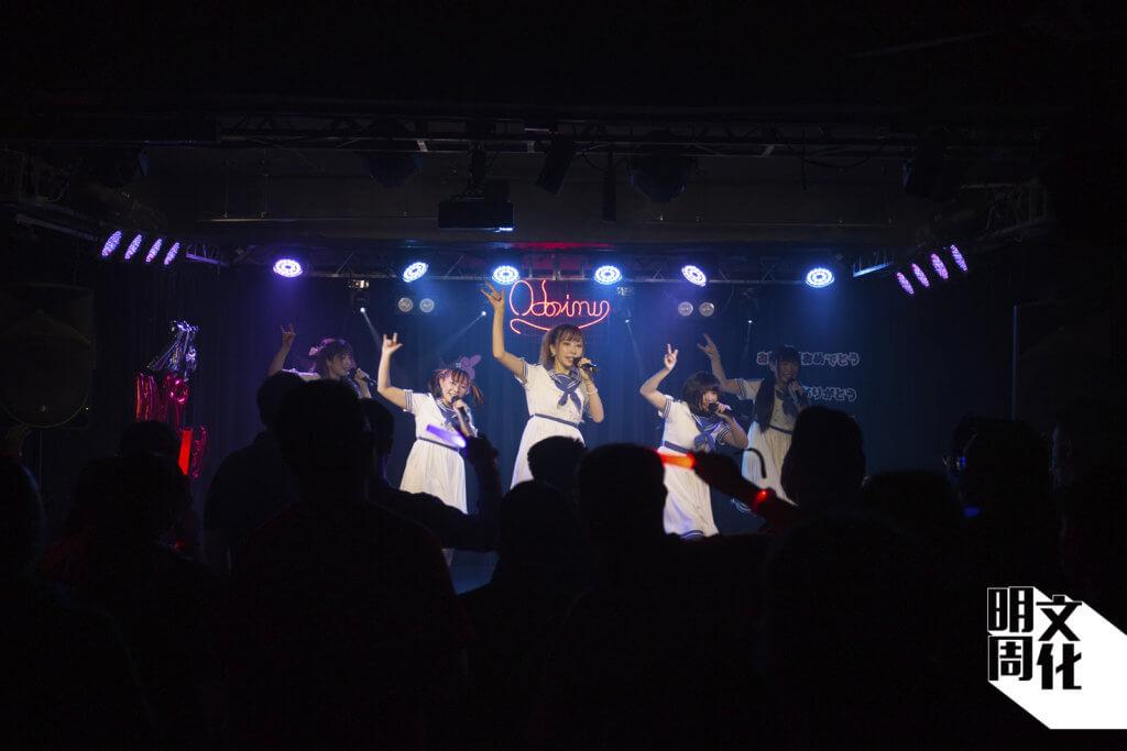 舞台上,乙女新夢成員穿着青春水手服,唱跳日文歌曲;舞台下,一眾歌迷揮動螢光棒應援,氣氛熾熱。