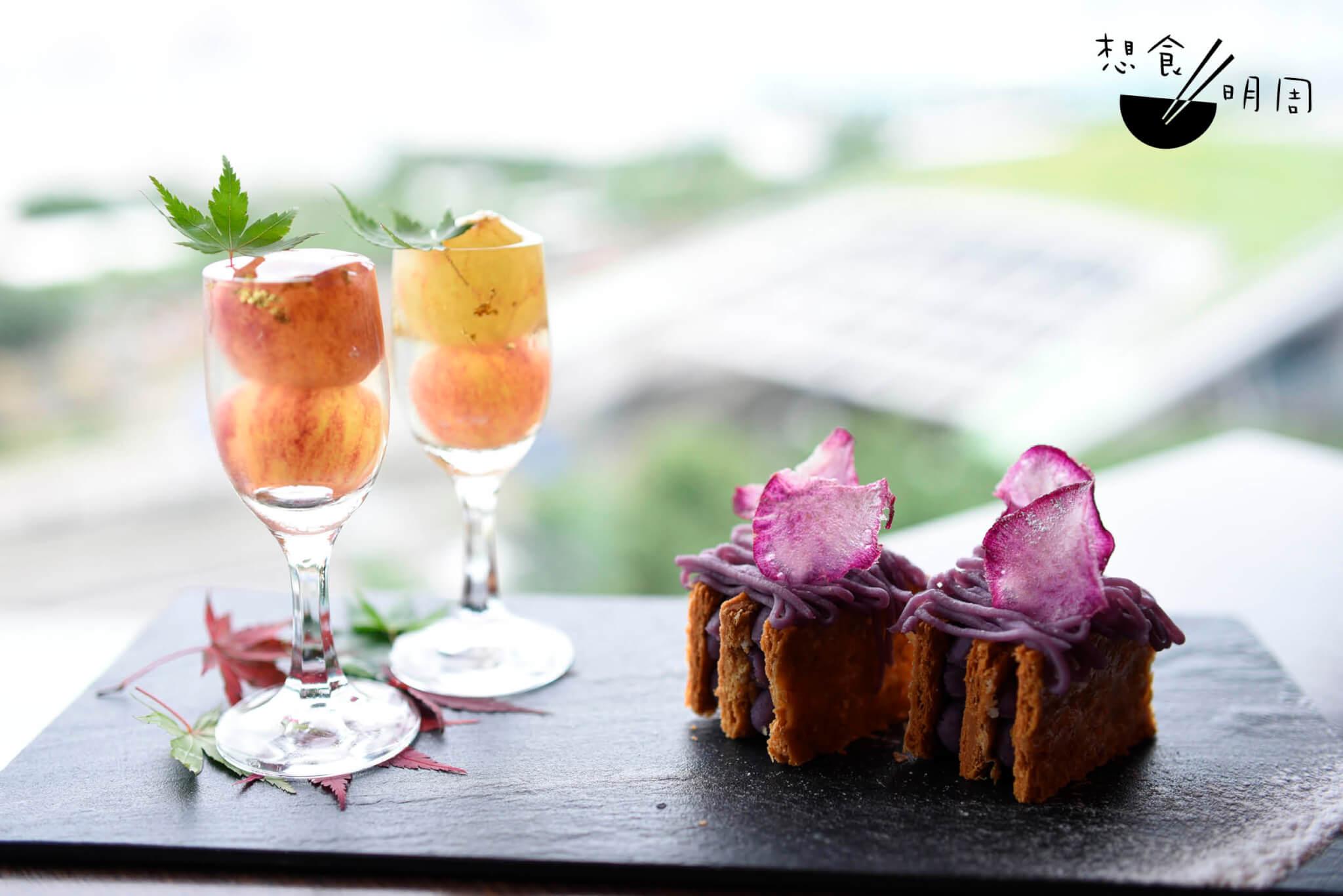 左:靜岡縣提子白酒啫喱 右:紫薯拿破崙