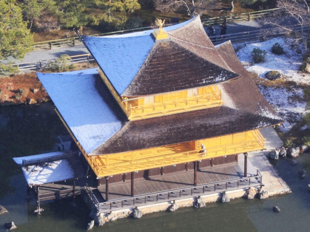 金閣寺修復前的建築設計,屋頂並非金碧輝煌。