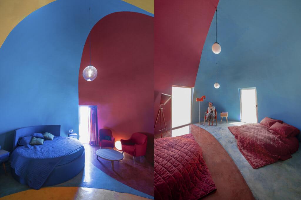 臥室。房子內外均漆上彩虹色。