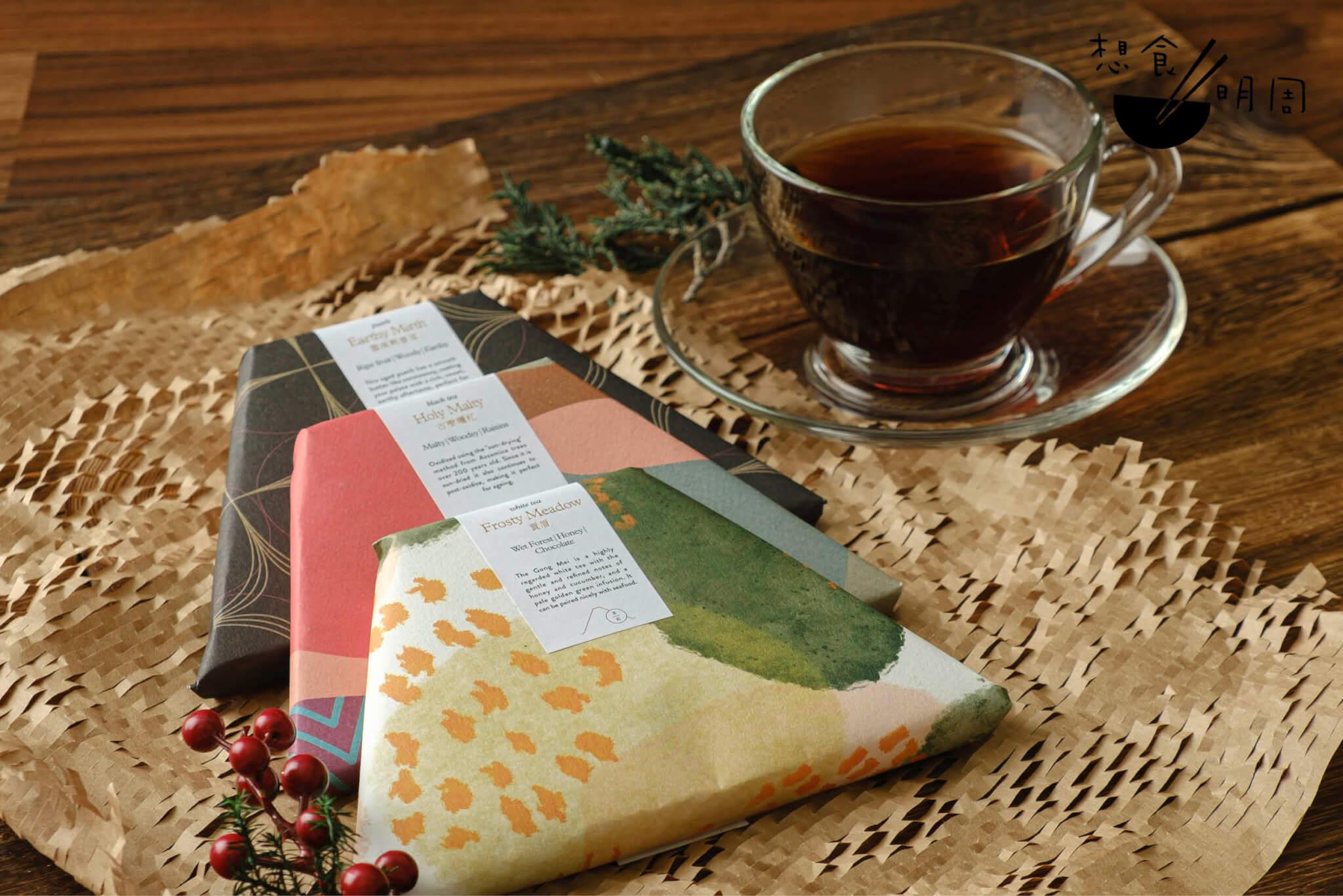 茶樹禮盒,$580 從上至下,分別是Earthy Mirth雲南熟普洱茶磚、Holy Malty古機曬紅茶磚、Frosty Meadow 貢眉茶磚。每款共有80克。