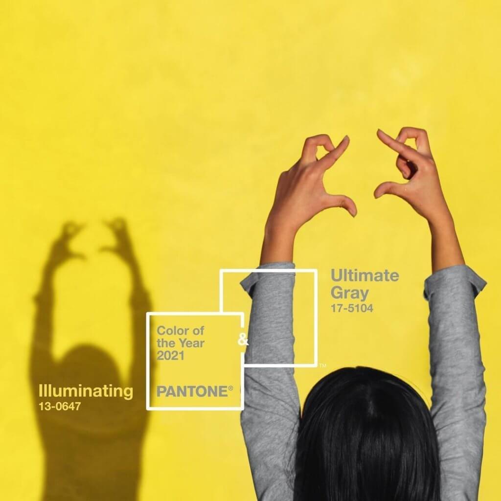 「極致灰」色票為17-5104,「亮麗黃」則為13-0647,兩種顏色共同成為2021年代表色。