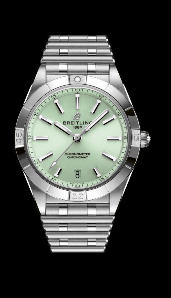 BREITLING CHRONOMAT 36 WATCH $37,400 Chronomat女士腕錶系列錶款向來喜用品牌標誌性蝴蝶扣Rouleaux錶鏈,堅固而優雅。如同所有百年靈腕錶,這幾款計時腕錶均經過獨立認證機構瑞士官方天文台(COSC)認證,另外,無論游泳、衝浪或潛水人士,甚至是當浴缸裏的美人魚,都將對其高達一百米的防水性能讚不絕口。 款式方面,這幾款時計變化多端。除了尺寸選擇(三十六毫米自動機芯和三十二毫米SuperQuartz™超級石英機芯)外,更有一系列金屬錶殼可供選擇:酷炫精鋼、百搭雙色半金,亦或18K紅金。
